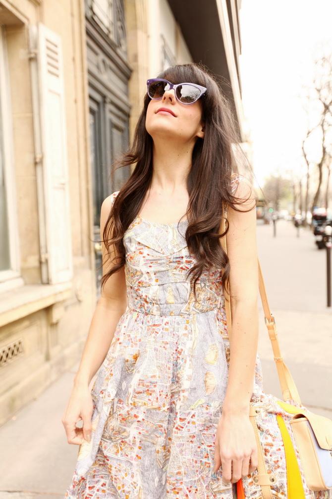 map dress cherry blossom girl