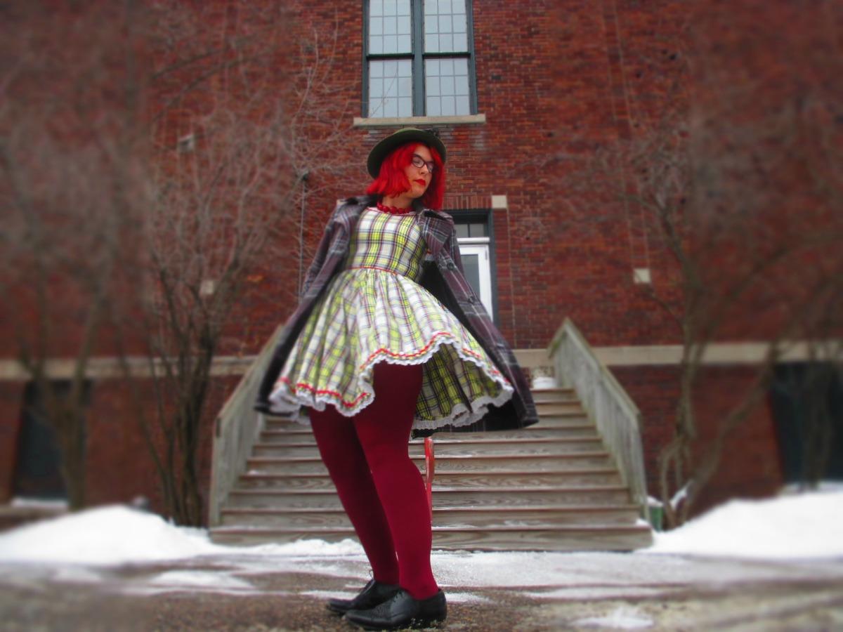 slut (plaid dress, plaid coat, & clashing shades ofred)