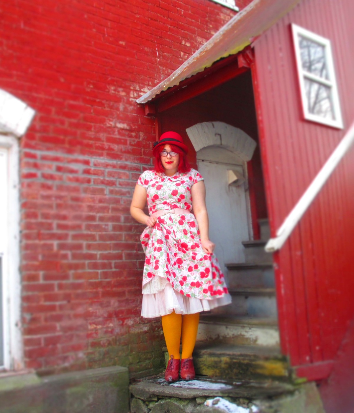 on modernity (vintage florals, pink coat, red hat, & yellowtights)