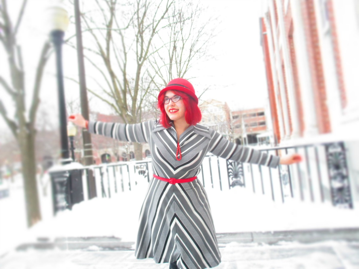 gray chevron dress, red coat, & a shortstory