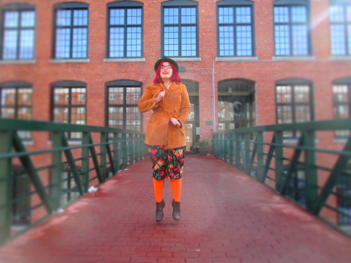 granny florals, orange tights, & a leather coat